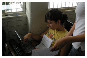Mexican girl using laptop