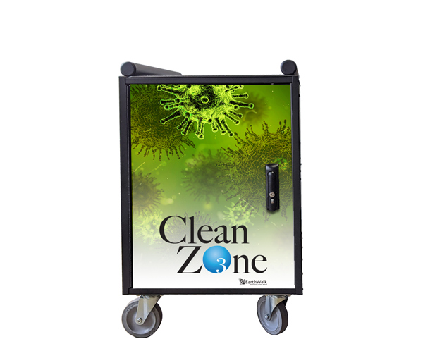 Decontaminates computer devices, charging and storage cart