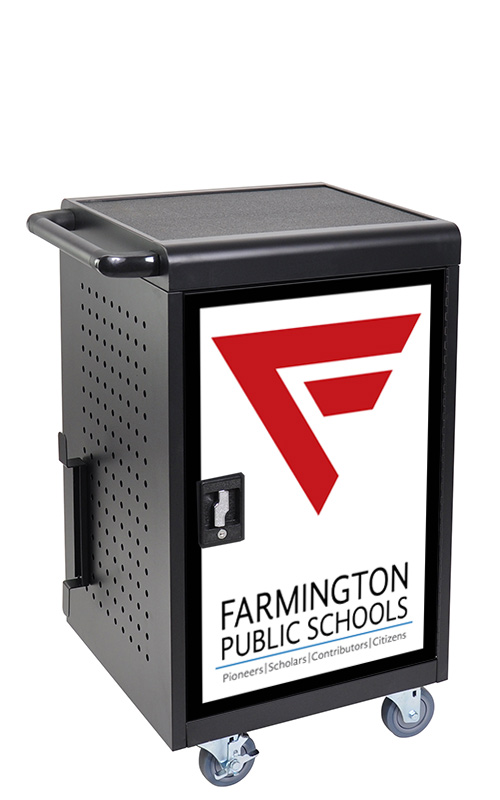 Custom door graphic on mobile computer cart for Chromebooks and tablets