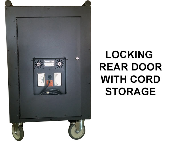 Locking rear door with cord storage