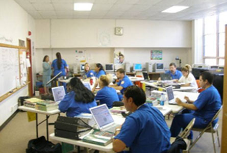 Native American students working with wireless mobile computer labs