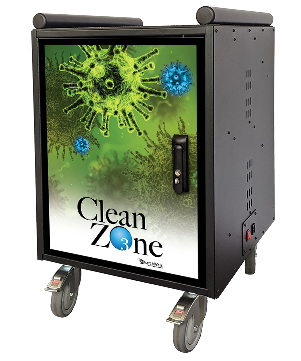 CleanZone ss30 charges and sanitizes devices, mobile cart